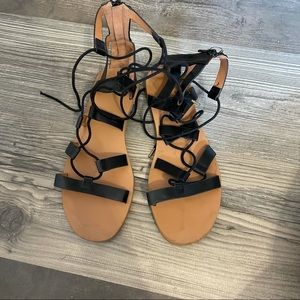 Urban Outfitters Gladiator Black Lace Up Sandals